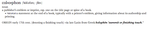 Definition of colophon